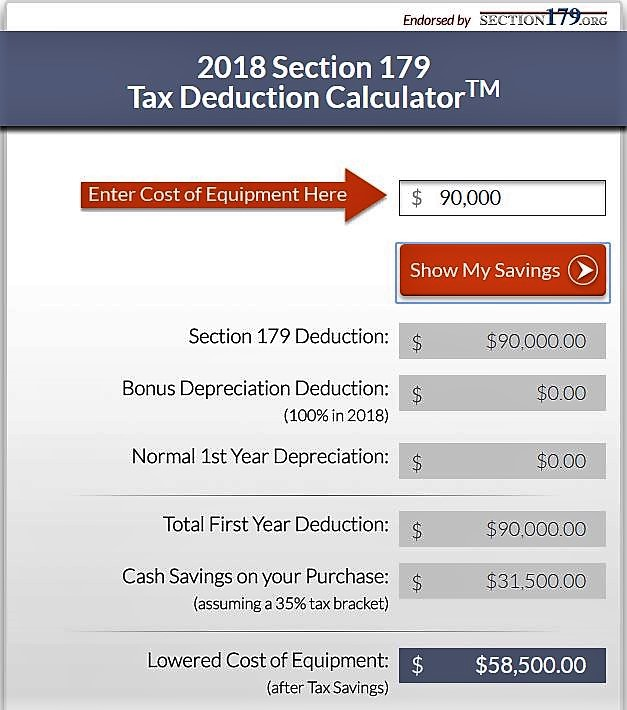 2018 Section 179 Calculator